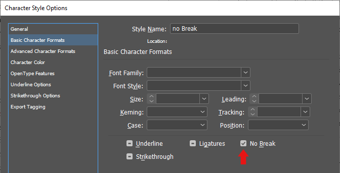 screenshot showing how to make a no wrap character style.