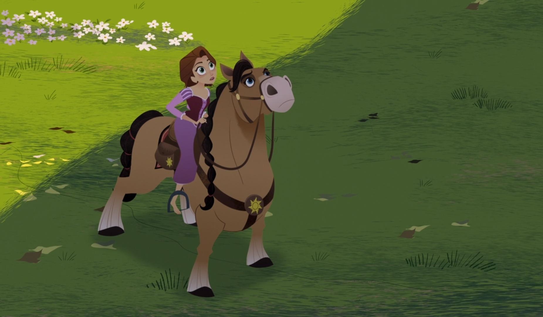Rapunzel on a horse illustration.
